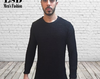 Mens Black Sweater- Crewneck Sweater, Sweaters for Men, Black Sweater, Mens Knitwear, Mens Double Side Sweater, Mens Fashion, Mens Clothing