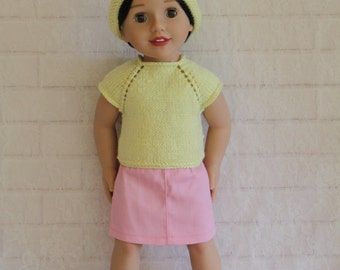 "Yellow Knitted Top Hat & Pink Skirt Dolls clothes to fit 20"" Australian Girl dolls only"