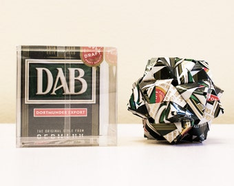 DAB Beer Can Origami Ornament.  Upcycled Recycled Repurposed Art.
