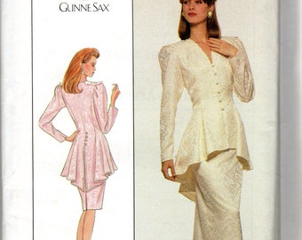 "1980s Women's Peplum Jacket and Fitted Skirt Pattern - Size 20, Bust 42"" - Simplicity 8947 uncut, Jessica McClintock design"
