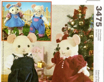 "Mice Dolls & Clothing Pattern - 8"" to 10"" tall- McCall's Crafts 3475 uncut"