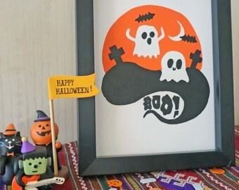 """Boo! Original 5x7"""" cute ghost screen print"""