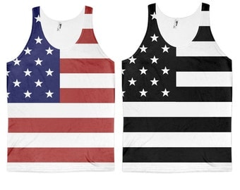 American Flag All Over Print Tank Top - Regular or Black and White