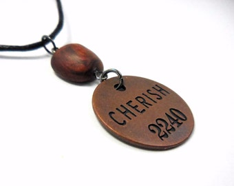 Cherish Necklace, Inspirational Polymer Clay Word Pendant, Artist Token Jewelry