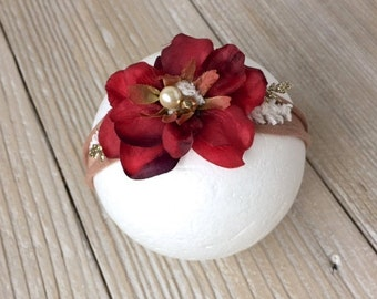 Christmas Red, Tan, Neutral, Gold, Ivory Jersey Knit Tieback Headband for Baby Girl - Newborn, Baby, Toddler, Child  - Ready to Ship