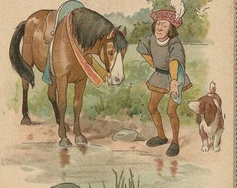 Proverbial - Vintage 1930s Tuck Calendar Chromographic Unsigned Horse Art Postcard