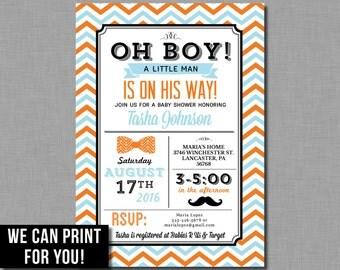 Little Man Shower Invitation Baby Boy Mustache Orange Blue printable