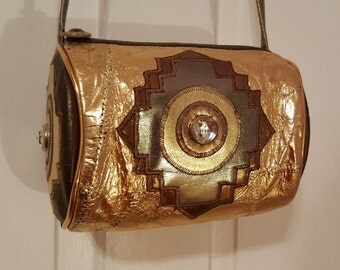 METALLIC GOLD PATCHWORK Purse // 80's Renaissance Cylindrical Leather Purse Jeweled Disco Party 90's Snake Bronze Round