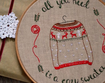 DIY, Hand embroidery patterns, Hygge, Christmas sweater, Christmas diy, Christmas hoop art, christmas embroidery by NaiveNeedle