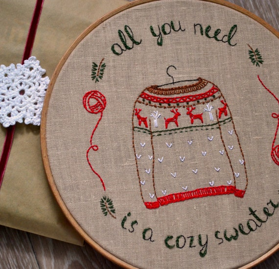 Hygge hand embroidery patterns christmas sweater