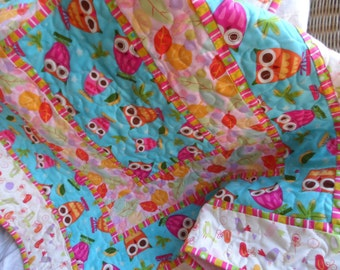 Handmade baby girl quilt: aqua and pink owls, shower gift