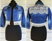 Upcycled Jean Crop Jacket with Embroidered Lace Inserts Cut-out Panels Front and Back Distressed Denim - Sz S/M