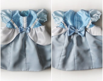Baby Girls Cinderella Costume Dress Bows Front and Back Handmade Unique - Ready to Ship