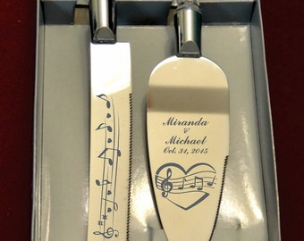 Music Heart Notes  Wedding Cake Knife and Server with Names and Date FREE