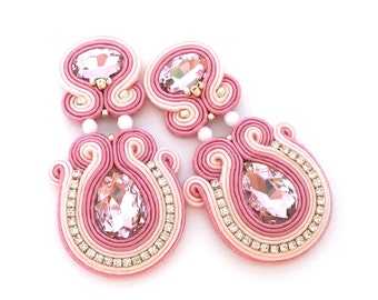 Bridal earrings - soutache earrings - clip on earrings - bridesmaids earrings - birthday gift for wife - bridesmaids gift wholesale jewelry
