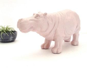 BOYSENBERRY SHERBET Hippo Animal Statue for table top / pastel decor / kids room decor / nursery decor / light pink decor / office decor