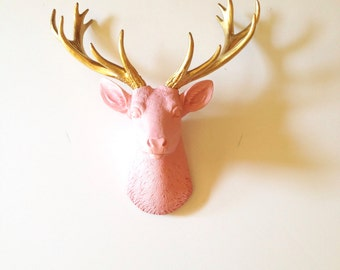 BABY Soft PINK - GOLD Small Faux Taxidermy Deer head wall mount wall hanging / stag head / faux animal head / nursery decor kids room office