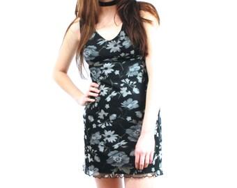90s Floral Mesh Mini Dress