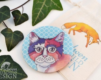 Cat Fabric Pocket Mirror, Cosmetic Mirror, Makeup Mirror, Gifts for Women, Fabric Covered Mirror, Mothers Day Gift