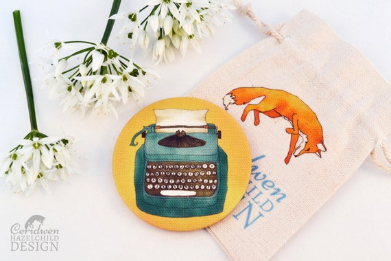 Fabric Blue Typewriter Pocket Mirror, Cosmetic Mirror, Makeup Mirror, Gifts for Women, Fabric Covered Mirror