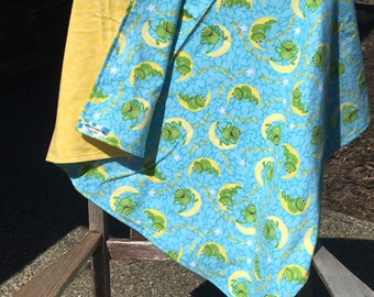 Flannel Baby Blanket / Kid Car Blanket - Frogs on Moons, Personalization Available