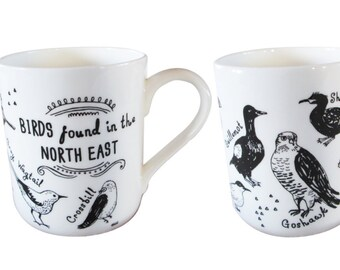 Birds found in the North East fine bone china mug
