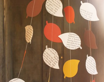 Party Decoration, Leaf Garland, Fall Garland, Paper Garland, Book Page Garland, Leaf Decoration, 10 feet long, Made to Order
