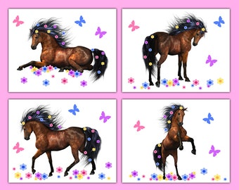 HORSE PRINT or DECAL Wall Art Girls Wild Pony Equestrian Farm Barnyard Animal Sticker Decor Childrens Floral Butterfly Bedroom Kids Room