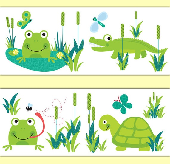 Frog Turtle Alligator Decal Stickers Nursery Wallpaper Border