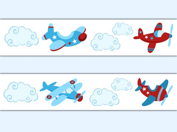 Airplane Wallpaper Border Wall Decals Boy Aviation Nursery