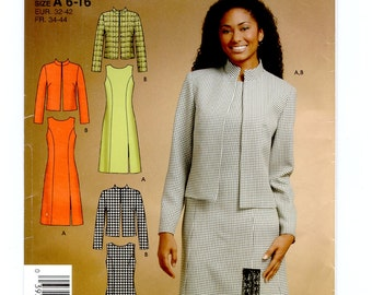 Simplicity 4921 Misses OnePiece Sleeveless Dress Jumper w/ Princess Seams & Jacket Womens Sewing Patterns Size 6 to 16 Bust 30 to 38 UNCUT