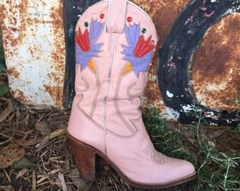 Mora Pink Cowgirl Boots - Vintage Beverly Feldman Design size 5.5