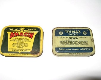 Anacin and Trimax Vintage Tins - Anacin Headache and Trimax Antacid Medical Tins - Two Vintage Remedy Tins
