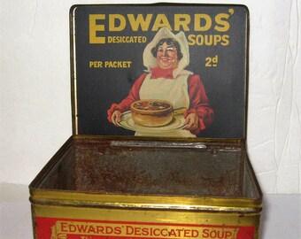 Vintage Edwards Desiccated Soup Tin - Rare 1910 Edwards Desiccated English Soup Tin - Vintage 1910 Edwards Soup Tin Box