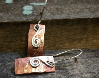 Hammered Copper and Sterling Silver Dangle Earrings - Drop Earrings - Made in the USA