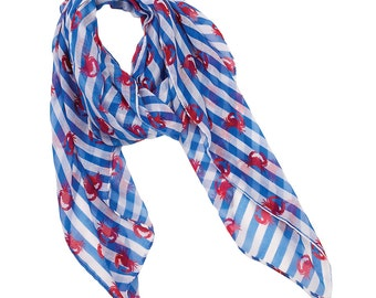 Striped Crab Scarf, womens scarves, Crab Scarf Shawl Nautical Scarf Women Scarf Summer Fashion Accessory, gift for her, crab printed scarf