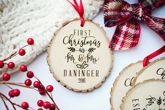 Our First Christmas as Mr and Mrs Ornament, Our First Christmas Wedding Gift, Rustic First Christmas Ornament, Wood first Christmas Ornament