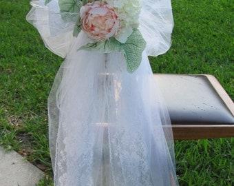 Custom Wedding Bows, Wedding Bows with Flowers, Pew Bows, Wedding Aisle Decor, Bows Ideal for Wedding Church Pews or Wedding Aisle Chairs
