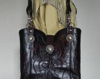 Black Cherry Leather Double Barrel Lucchese Boot Purse Handbag