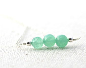 Green Aventurine Stone Three Bead Silver Wire Wrapped Necklace / Handcrafted Sterling Silver Jewelry / Spring Green / Gifts Under 30