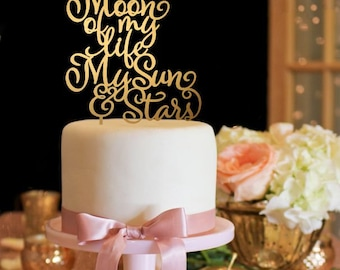 Moon of My Life My Sun and Stars Cake Topper - Game of Thrones Inspired Topper - Gold Cake Topper