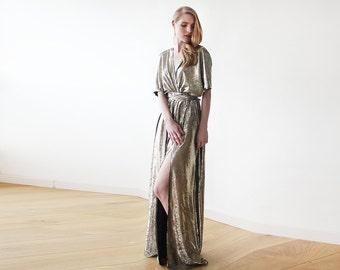 Maxi Metallic gold bat sleeves dress, Metallic bridesmaids gown, Party gold maxi dress