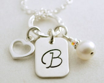 Personalized Custom Initial Necklace with Pearl and Heart Charm Hand Stamped Sterling Silver