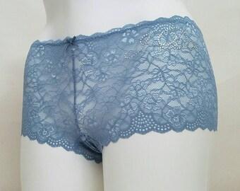 BLUE Lace Cheeky w/ Crystal I Do - Plus Size - Personalized Bridal Panties - Sexy Boudoir Knickers - Sizes 2X-4X