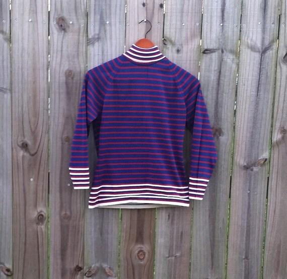 S M Small Medium Vintage 70s Striped Turtleneck Groovy Grunge Alternative Raver Long Sleeve Indie Hipster Back Zipper Shirt Blouse