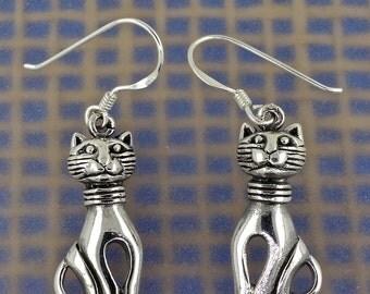 Sterling Silver Cute Kitty (Feline Cat) Earrings