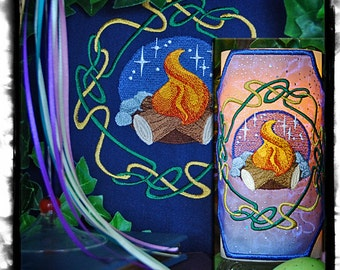 Wheel of the Year - Celtic Knot Beltane Embroidered, Candle Wrap and Matching Altar Cloth, Set.