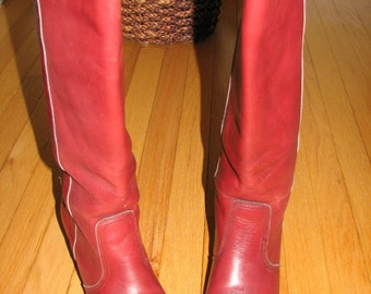 Vtg 70s Dex DEXTER Burgundy Leather Stacked Wood Heel Knee High Boots 9.5 10 M