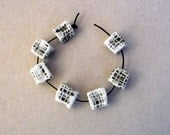 Black And White Cube Beads Set, Porcelain Cube Beads , Artisan B eads  , Jewelry Supplies