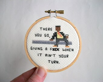 Ready to Ship --  Bunk There you go when it ain't your turn, mini completed cross stitch in natural wood embroidery hoop, mature